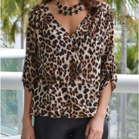 Kelly Draped Leopard Blouse