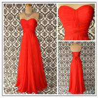 Red Exquisite A-line Sweetheart Neckline Floor Length Prom Dress