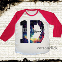 S, M, L -- 1D ONE DIRECTION Galaxy Shirts 1D Shirts Baseball Tee Shirts Jersey Tee Raglan Shirts Red Sleeve Tee Unisex Shirts Women Shirts