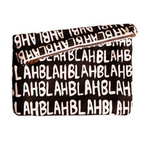 Blah Blah Blah Mini Zipper Clutch