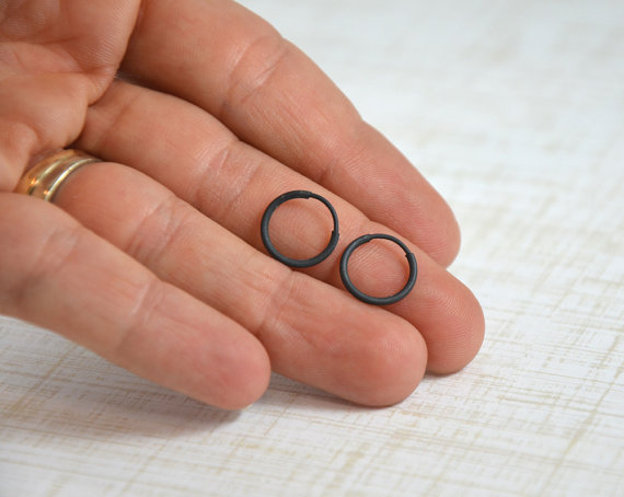 Small Black Hoop Earrings For Men Or From Gioiellijewelry
