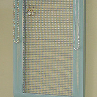 Jewelry Storage Organizer Framed Jewelry Holder Large Gray Jade Framed Jewelry Organizer