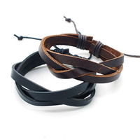 couple bracelet 2 color real leather bracelet women Leather Bracelet Men leather bracelet, boyfriend gift  T073