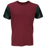 VIPARO | Red Lambskin Leather Sleeve Round Neck T-Shirt - Logan