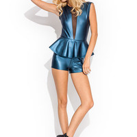 Peppy-Plunging-Coated-Romper BLACK BLUE GOLD - GoJane.com