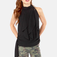 Ruffle Road Sleeveless Black Top