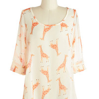 Just a Critter Bit Top in Giraffe | Mod Retro Vintage Short Sleeve Shirts | ModCloth.com