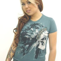 Doctrine Apparel Endangered Shirt Studded Skull Indian Chief