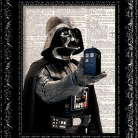 Doctor Who - Star Wars - Parody - Darth Vader- The Tardis - Dr. Who Geekery - Vintage Dictionary Print Vintage Book Print Page Upcycled Art