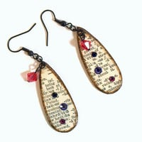 Earrings Decoupaged Teardrop Dictionary Text Dangle Earrings Swarovski Crystal Purple Pink