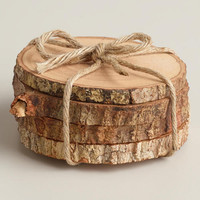 Wood Bark Coasters, Set of 4 | World Market