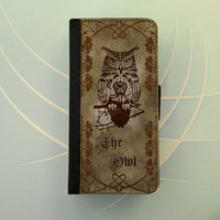 Owl iPhone 4 / 5 case Samsung Galaxy S3 S4 wallet, iPhone wallet case, book style, Samsung iPhone flip case - The Owl