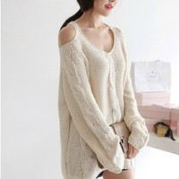 STRAPLESS LOOSE SWEATER beige