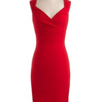 ModCloth Vintage Inspired Long Sleeveless Shift, Bodycon Lady Love Song Dress in Ruby