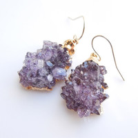 Amethyst Druzy Earrings - Rose Tip Style - OOAK Jewelry