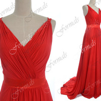 Straps V Neck Long Chiffon Red Evening Dresses, Red Prom Dresses, Formal Gown, Evening Gown, Red Carpet Dresses