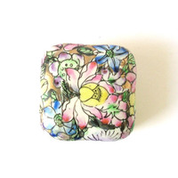 Colorful Small Box, Porcelain Trinket Box, Vintage Decor, Jewelry Keeper, Antique