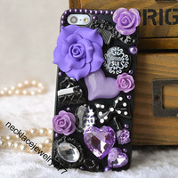 unique case for iphone 5s, cute bow iphone 5s 5 case back cover rose gem flower stud bling iphone 5 5s cases covers