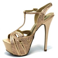 Rhinestone Platform Strappy Sandals in Gold
