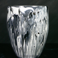 Black and White Marbled Ceramic Vase - Pot