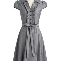 ModCloth Pinup Long Cap Sleeves A-line About the Artist Dress in Grey