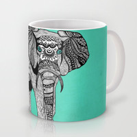 Tribal Elephant Black and White Version Mug by Pom Graphic Design