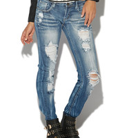 Triple Stitch Destroyed Skinny Jean