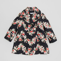 Floral-Print Jacquard Coat, Sizes 2-6