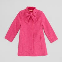 Girls New Bow Wool Coat, Hot Pink, Sizes 4-10