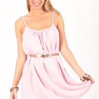 Pink Scoop Back Sleeveless Dress