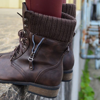 Castle Rock Brown Sweater Cuffed Combat Boot