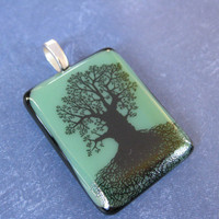 Tree Pendant, Green and Black Fused Glass Pendant, Handmade - Angel Tree - 4336 -1