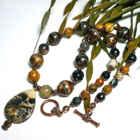 Artistic Jasper Etched Brown Agate African Jasper Gemstone Necklace