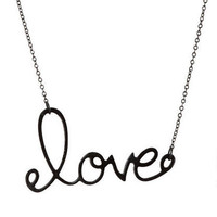 Black Love Script Necklace