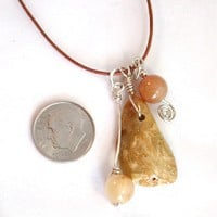 Jasper and Quartz Charm Necklace, Sterling Silver Accents, Cotton Cord