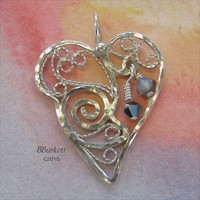 Filigree Heart, Birthstone Handcrafted Pendant