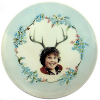 Deer Ol' Chunk Portrait - Altered Vintage Plate 7.75""