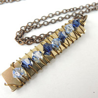 Crystal Pillar Necklace in Sapphire Blues