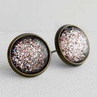 Magic Mirror Post Earrings in Antique Bronze - Pink & Silver Multicolor Glittery Stud Earrings