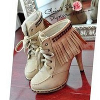Item#415 Top Studs Fringe Front Lace Up High Heel Platform Short Boots by AbsoluteShoes.Station on Sense of Fashion