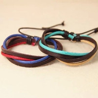 couple bracelet 2 color real leather cotton ropes woven bracelet,Christmas gift women bracelet T086