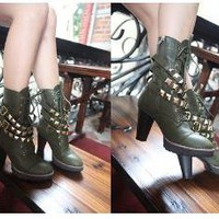 Army Green Lace up Studded Straps Rock Boots US 5-8.5 by dithzzappear on Sense of Fashion
