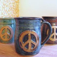 PEACE Sign Coffee Mug by MoorefieldPottery on Etsy