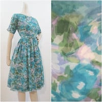 Dress Vintage 50s 60s Watercolor Floral Chiffon Full Skirt S M