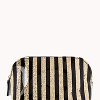 Small Glittered Stripe Cosmetic Bag