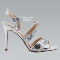 Silver & Glitter Strap Open Toe High Heel Sandals