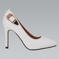 White Faux Leather Pointed Toe Heel with Buckle Detail
