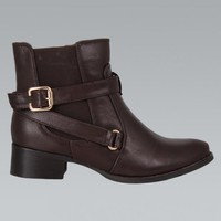 Brown Faux Leather Ankle Boots with Buckle Detail