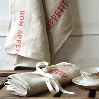 NATURAL French country 1 Linen Towel / shabby chic kitchen
