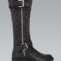 Black Quilted Knee High Double Buckle Boots